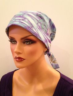 Gabrielle Scarf - Purple Paradise our Cancer, Chemo, Alopecia Head Cover hat scarf for women experiencing hair loss. by InspirationalHeadCov on Etsy