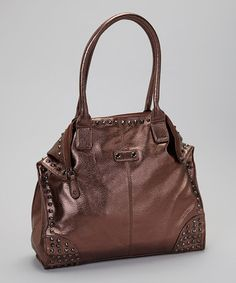 Take a look at this Bronze Metallic Stud Vegan Leather Tote by STUDIO 36 on #zulily today!