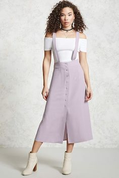 Forever 21 Contemporary - A woven overall maxi dress featuring adjustable  buttoned shoulder straps and a cfc4ae2b44a