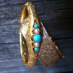 gold, turquoise and pearls victorian bangles