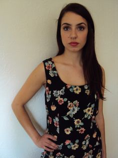 Vintage 90s Deadstock Grunge Floral Mini Dress by nanapatproject, $26.00