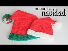 Gorro de Navidad a Crochet - TODAS LAS TALLAS - Paso a Paso - YouTube