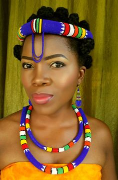 Zulu beaded accessories with bold colours that enhance any outfit. Perfect for traditional weddings and fashion shows. Excellent as statement pieces with bold colours that draw attention to the wearer. African Beaded Bracelets, African Jewelry, African Necklace, Gypsy Jewelry, Beaded Jewelry, Beaded Necklaces, Xhosa Attire, African Wedding Attire, African Accessories
