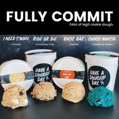 """Self Control"" Edible Cookie Dough Sampler Box Edible Cookies, Edible Cookie Dough, Delicious Desserts, Yummy Food, Eating Raw, Recipes From Heaven, Vegan Baking, Cookies And Cream, Baking Ingredients"