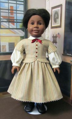"Civil War Dress- Fits 18"" American Girl Doll Cecile, Marie-Grace or Addy. An Original KeeperDollyDuds Design"