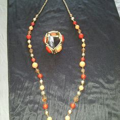 Necklace and bracelet bundle Necklace and oversized bracelet in beautiful colors in peach and red East 5th Jewelry Necklaces