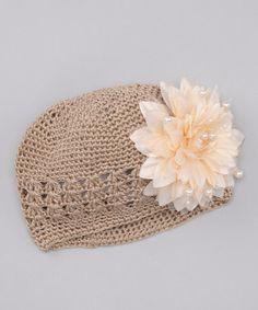 Tan Knit Flower Beanie by Frilly Goose on #zulily today!  http://www.zulily.com/invite/jpalmer893/p/tan-beanie-26960-2268006.html?tid=social_pinref_shareviaicon_na=2268006