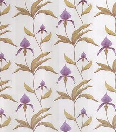 Orchid Wallpaper Large design of purple orchids on cream background