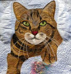 Hermee Angel by Karen Ponischil   cat art quilt, fiber art