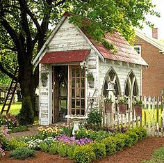 Are you looking garden shed plans? I have here few tips and suggestions on how to create the perfect garden shed plans for you. Garden Cottage, Diy Garden, Dream Garden, Home And Garden, Upcycled Garden, Backyard Cottage, Herb Garden, Wooden Garden, Garden Homes