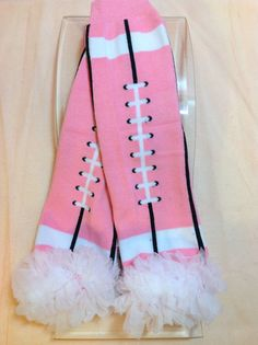Pink Football Leg Warmers with White by PrincessEllasBoutiqu, $7.50  https://www.etsy.com/listing/158606229/pink-football-leg-warmers-with-white?ref=listing-shop-header-0