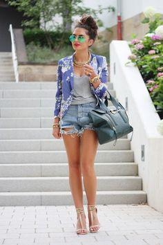 Blue Sheinside Blazer and Jean Cutoff Shorts