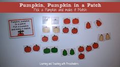 """Match Game, """"Pumpkin, Pumpkin in a Patch"""" (from Learning & Teaching with Preschoolers)"""