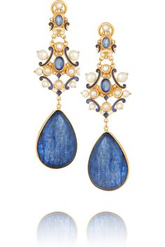 Percossi Papi Gold-plated kyanite, sapphire and pearl earrings(=)