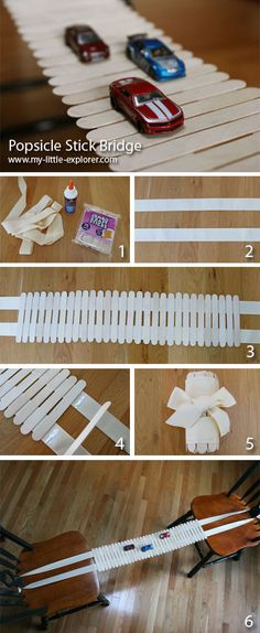 16ft of 1-1/2 in wide ribbon + 35 popsicle sticks + craft glue = A bridge to anywhere!