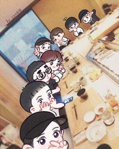 Exo L dining Chanyeol, Baekhyun Fanart, Kpop Fanart, Kyungsoo, Kpop Exo, Exo Ot12, Chanbaek, Exo Birthdays, Exo Cartoon