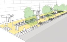 Sidewalks - National Association of City Transportation Officials Architecture Module, Architecture Drawings, Landscape Architecture, Architecture Design, Urban Design Plan, Plan Design, Urban Landscape, Landscape Design, Urban Ideas