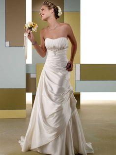 Fashionable strapless empire waist taffeta wedding dress