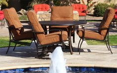 Albany outdoor furniture offers a solid tubular aluminum frame construction, with a soft Sunbrella cushion fabric and the quality of our higher cost models, yet at an attractive price! Albany is available in a complete line of cushion dining and seating with an oversize spring base club chair.