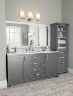 best bathroom decor 60 Fantastic Farmhouse Bathroom Vanity Decor Ideas And Remodel Bathroom Vanity Decor, Bathroom Renos, Bathroom Renovations, Bathroom Interior, Small Bathroom, Bathroom Stuff, Grey Bathroom Cabinets, Serene Bathroom, Gray Bathrooms