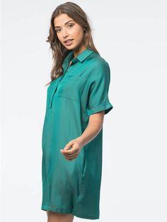 Silk blend shirt dress with breast pocket  #summer18 #s18 #spring #summer #summercolor #green #khaki #jade #pastel #silk #summer #dress #soft #lightweight #vneck