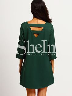 Shop Dark Green Strappy Back Shift Dress online. SheIn offers Dark Green Strappy Back Shift Dress & more to fit your fashionable needs.