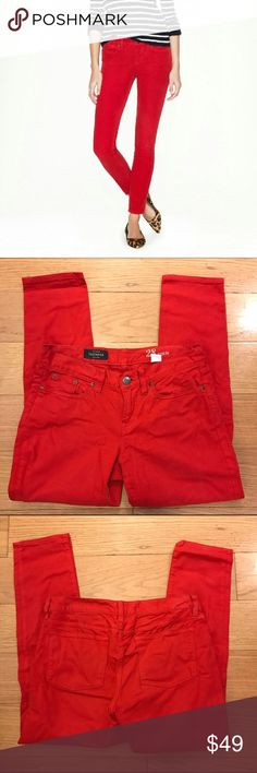 """J. Crew Red Toothpick Jean J. Crew Toothpick Jean in Garment Dyed Twill. -Sits lower on hips. -Slim through hip and thigh, with a skinny, cropped leg. -Cotton/viscose with a hint of stretch. -28"""" inseam. -11 5/8"""" leg opening (based off size 28). -Traditional 5-pocket styling. -Excellent condition.  NO Trades. Please make all offers through offer button. J. Crew Jeans Skinny"""