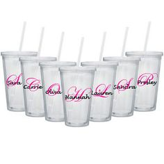 16oz Personalized Tumbler Clear Plastic with Straw by CaryMeHome, $8.00  Great for bachelorette parties, bridal parties, bridesmaids, birthdays, and more!