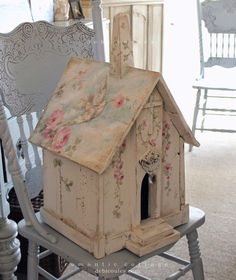 Shabby Chic Romantic Birdhouse with Dove and Roses