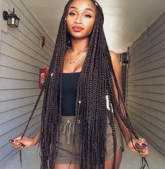 Here is Long Box Braids Hairstyles Gallery for you. Long Box Braids Hairstyles 150 chic box braids styles that you should . Big Box Braids, Blonde Box Braids, Box Braids Styling, Long Braids, African American Braided Hairstyles, African Hairstyles, Black Women Hairstyles, Gorgeous Hairstyles, Box Braids Hairstyles