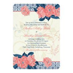 Coral Pink + Navy Blue Vintage Floral Wedding Invitation - Very Unique