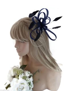 Elegant Navy Blue and Black Net Bow and Feather Hair Comb Slide Fascinator