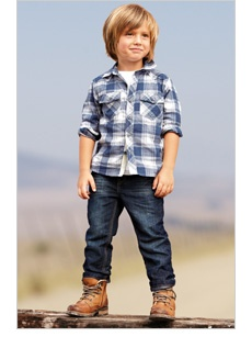 This screams Parker. His fave look; country boy...and I love the long hair...his is almost there now.