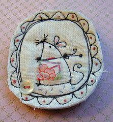 Very cute textile brooch