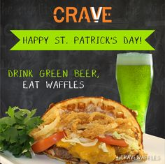 Enjoy Coors and Bud Drafts for $2.50 and give our corn beef and cabbage a try today #StPatricksDay #GreenBeer #Waffles #Fun #Glendale