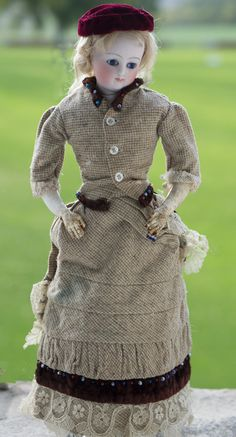 """14"""" (36 cm)  Beautiful Early French Fashion Bisque Doll Poupee with Rare Doleac Signature"""