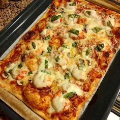 Home made pizza with shrimp bacon and mushrooms         #homemade #homemadepizza #pizza #shrimp #basil #mushrooms #bacon #mozzarella #parmesiano #notreallyachef #foodgram #instafood
