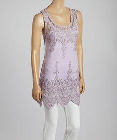 Look at this #zulilyfind! Purple Sheer Lace Silk-Blend Tank by Pretty Angel #zulilyfinds