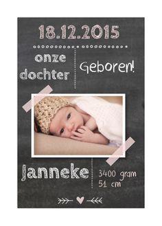 Stoer krijtbord fotokaartje met hippe typografie.   #geboortekaartje