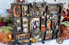 Amazing Fall Steampunk Spells altered Printer's Tray by Arlene using Petaloo and Xyron! Gorgeous Amazing Fall Steampunk Spells altered Printer's Tray by Arlene using Petaloo and Xyron! Halloween Shadow Box, Fall Halloween, Halloween Crafts, Halloween Decorations, Graphic 45, Shadow Box Kunst, Shadow Box Art, Altered Boxes, Altered Art