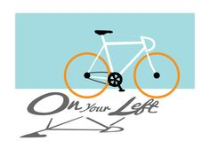 Digital Illustration- PRINT on Paper  Title: On Your Left Size: 11x 14 Description: Inspired by my hometown of Boise, Idaho with miles of bike path, On Your Left illustrates the three magic words that all courteous bikers and bike path users know. Colors: Blue, White, Black, Orange, and Grey Technique: Digital Illustration, Giclee professionally printed on Epson Cold Press Textured paper. Frame: Not included - recommended  Note: Printed with intention to be framed without a mat.