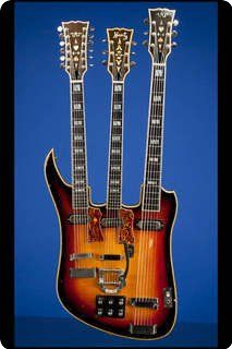 """The Unique Koontz Custom Triple-Neck…""  This is a one-of-a-kind Custom Triple-neck guitar was specially built by New York Luthier Sam Koontz between 1965 and 1967."
