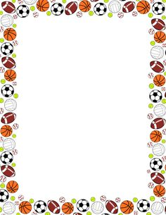 Free sports ball border templates including printable border paper and clip art versions. File formats include GIF, JPG, PDF, and PNG. Page Borders Free, Page Borders Design, Border Design, Borders For Paper, Borders And Frames, Printable Border, Printable Labels, Create Flyers, Sports Frames