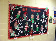Easy and Fun Christmas Decorations for the Classroom – Bulletin Boards : Learn how to make Easy and Fun Christmas Decorations for the Classroom - Bulletin Boards. These are great holiday crafts for kids to make in the classroom Christmas Bulletin Boards, Christmas Classroom Door, Classroom Bulletin Boards, Office Christmas, Toddler Christmas, Christmas Fun, December Bulletin Boards, Christmas Board Decoration, Christmas Decorations For Kids