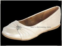 Girls-WHITE-or-IVORY-Dress-Shoes-Flats-w-Rhinestone-Heart-Size-5T-4-Youth