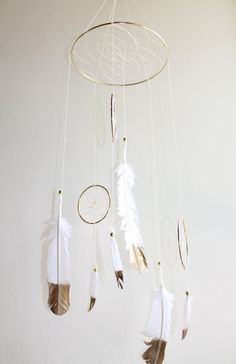 Dreamcatcher Mobile - White And Gold Boho Bohemian Baby Tribal Crib Nursery Baby