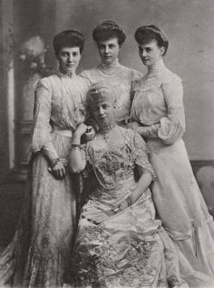 Princess Thyra, Duchess of Cumberland and daughters (from L to R) Princeses Marie Louise, Olga and Alexandra of Hanover.