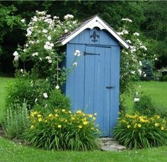 cute/ flowers help to keep the oder down lol shed design shed diy shed ideas shed organization shed plans Garden Tool Shed, Garden Storage Shed, Diy Shed, Herb Garden, Shed Design, Garden Design, Shed Blueprints, Firewood Shed, Modern Shed