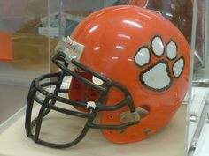 Vintage Winter Park High School football helmet as displayed in the current 'Growing Up Wildcat' exhibit for the Winter Park Historical Association in Winter Park, Florida.  GO, WILDCATS!