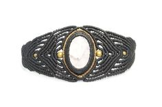 Macramé with bronze and Rose Quartz bracelet, jewelry, black Macrame, Bangle Macrame, Macrame Bracelet, Hippie, female, Fashion, unique